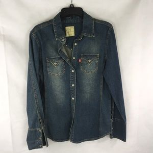 Levi's Red Tab Denim Button Up Shirt Large